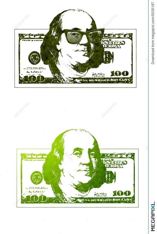 Cool Ben Franklin 100 Dollar Bills Illustration 5535187.