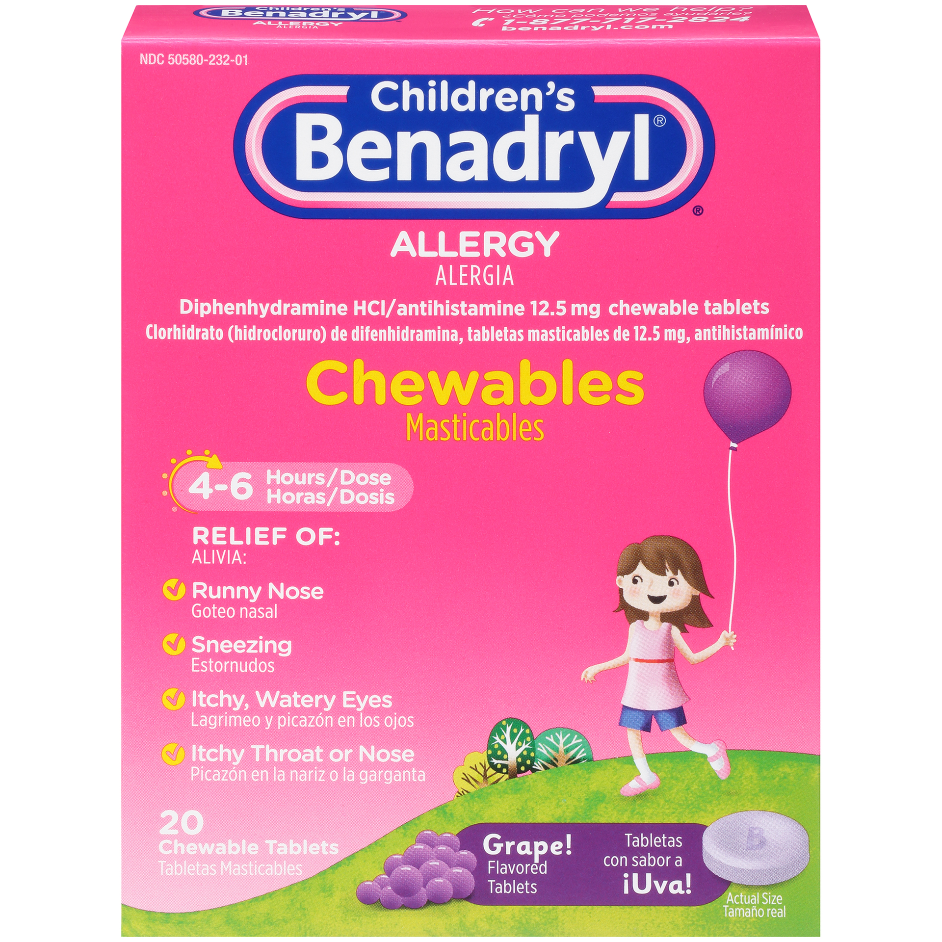 Children's Benadryl Allergy Chewable Tablets, Grape Flavor, 20 CT.