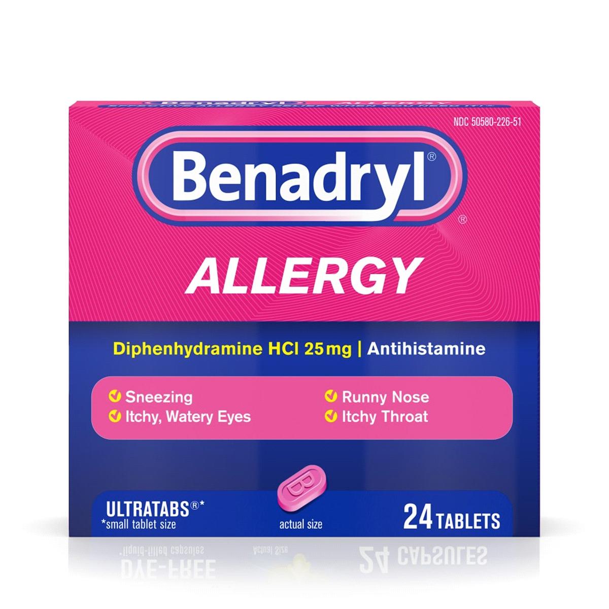 Benadryl Allergy Ultratabs Tablets, 24 Count.