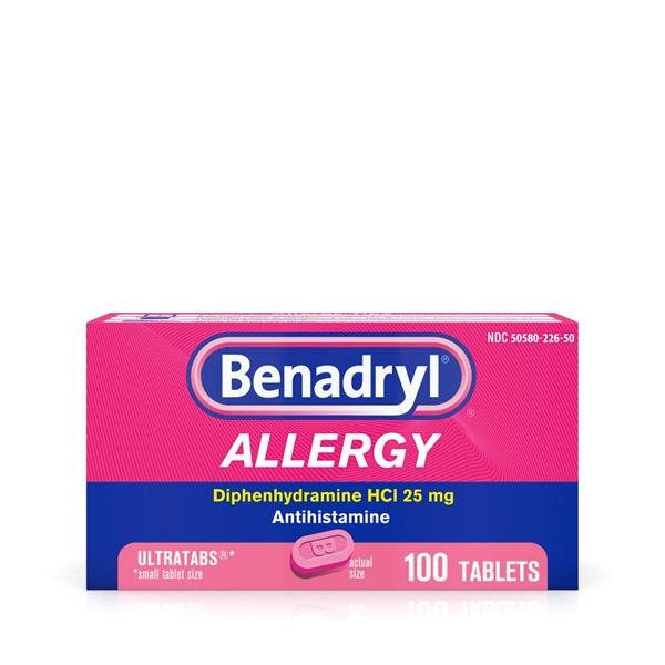 Benadryl Allergy Ultratabs Tablets, 100 Count.
