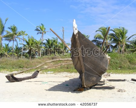 Wooden Outrigger Fishing Boat Benaulim Beach Stock Photo 42056737.