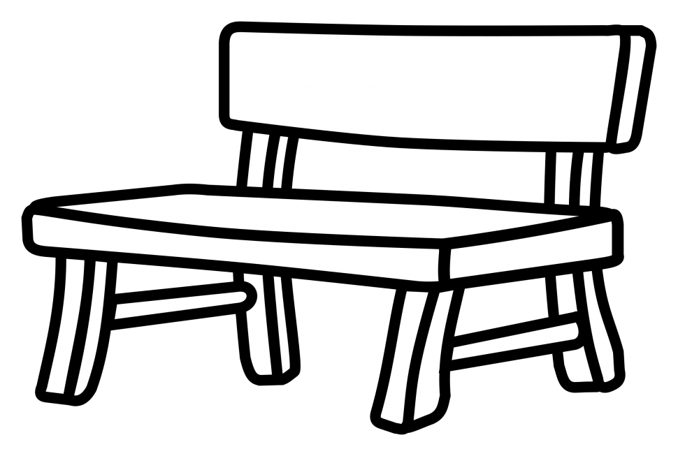 Bench clipart black and white, Bench black and white.