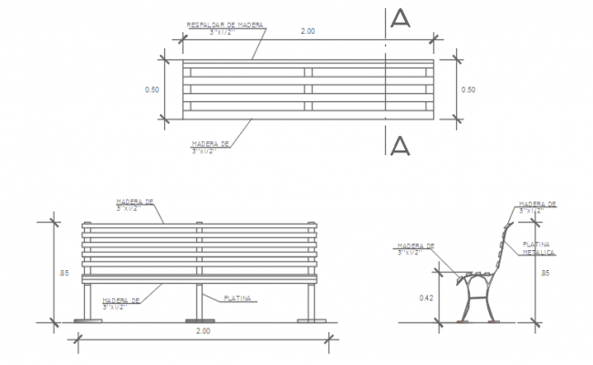 Bench plan, elevation and section detail dwg file.