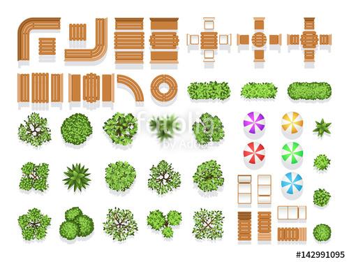 Top view landscaping architecture city park plan vector symbols.
