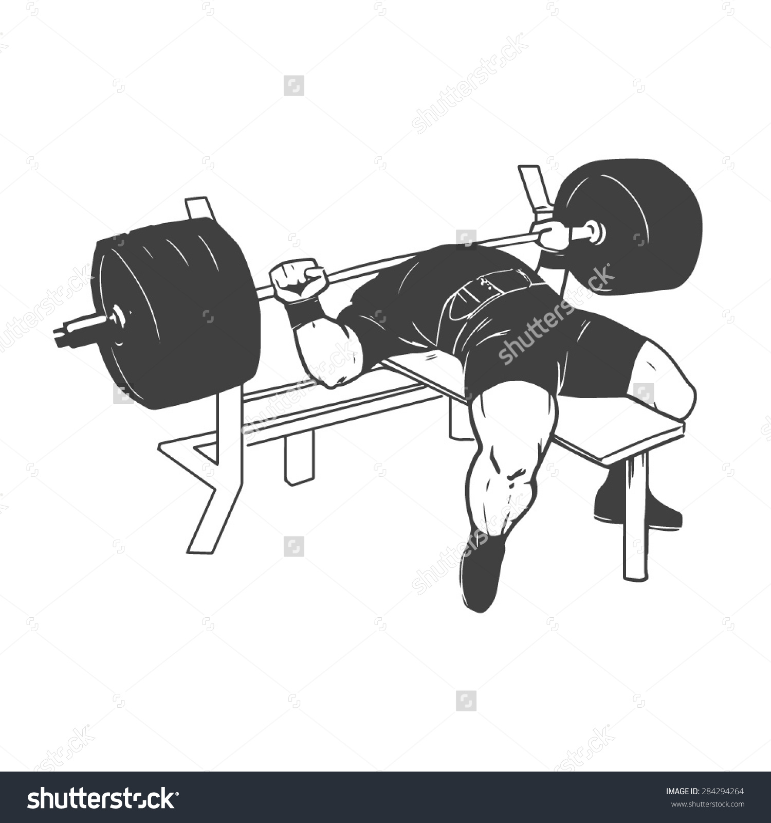 Powerlifting Bench Press Figure On Isolated Stock Vector 284294264.