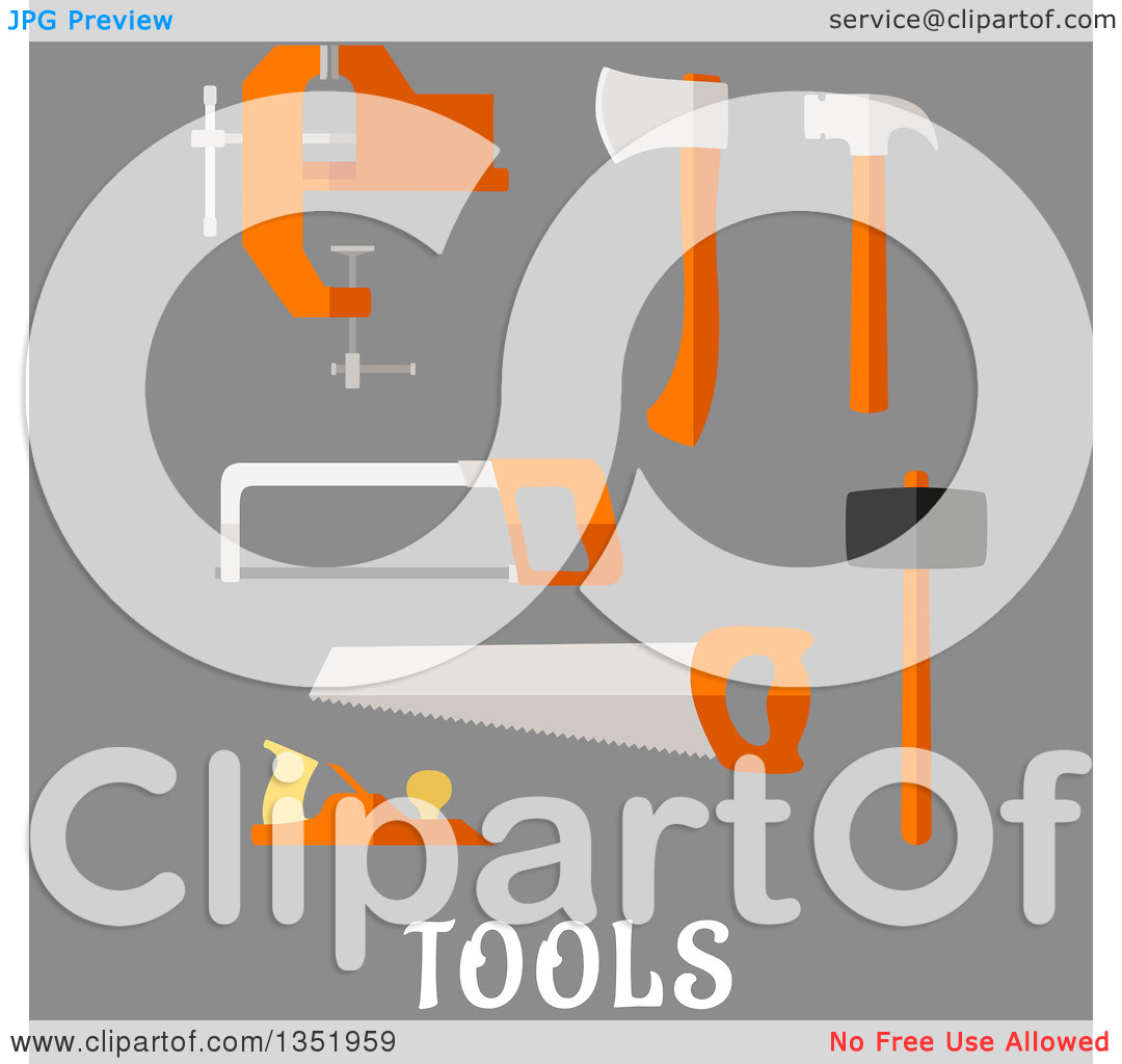 Clipart of a Flat Design Axe, Hammer, Hand Saw, Claw Hammer, Bench.