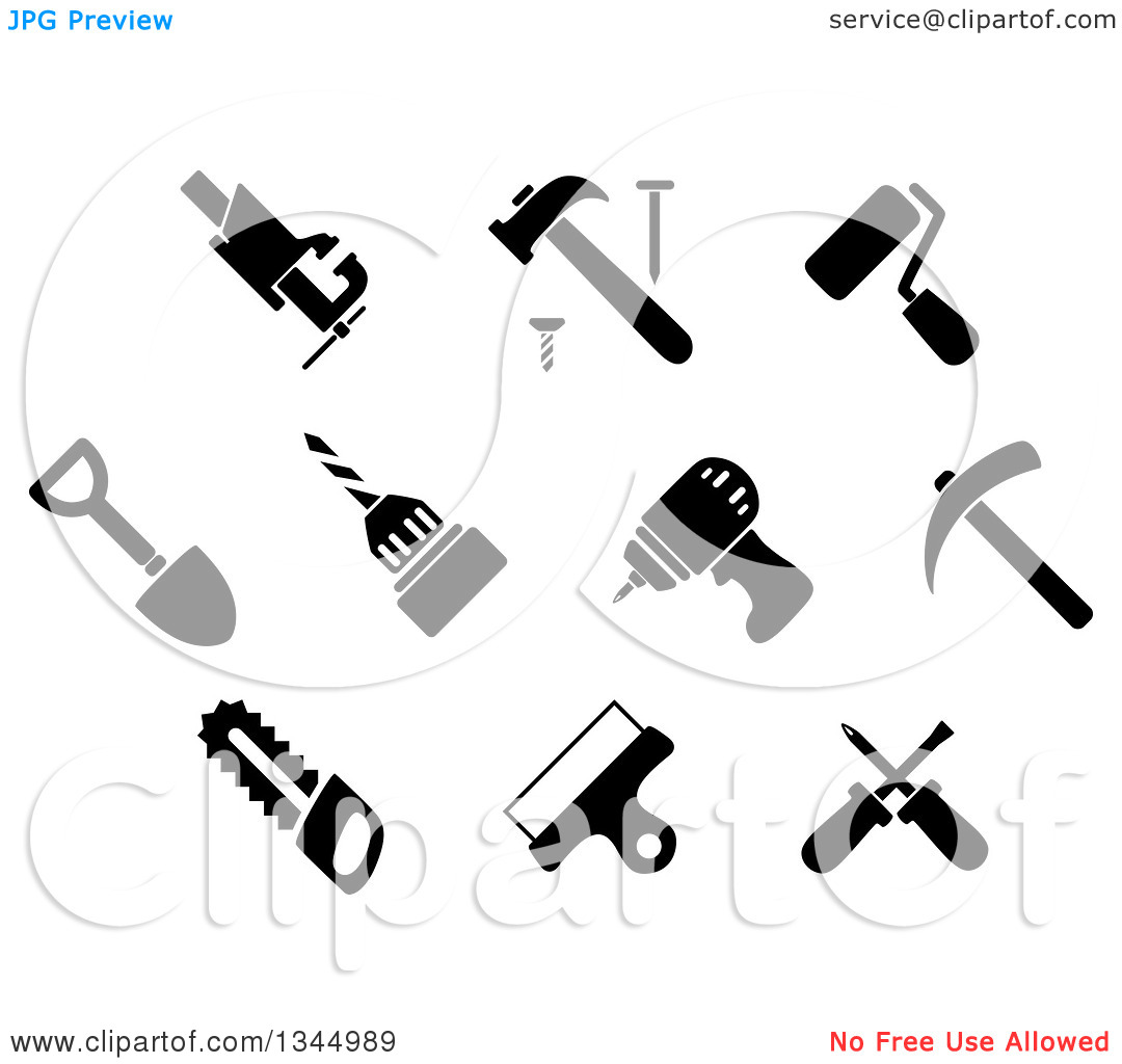 Clipart of Black and White Hammer, Nail, Crossed Screwdriver.