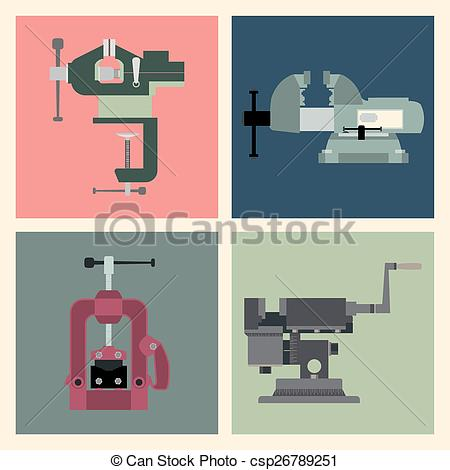 Clipart Vector of Bench vices.