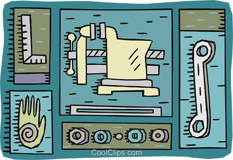 work bench vise nuts square and wrench Royalty Free Vector Clip.