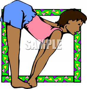 In Standing Forward Bend Yoga Position.