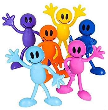 Neliblu Why Worry? Be Happy! Bulk Toys 1 Dozen Smile Face Men Bendables.