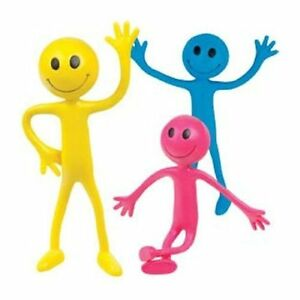 Details about Tobar 3 X Bendable Smiler Bendy Smiley Man BLUE PINK YELLOW.