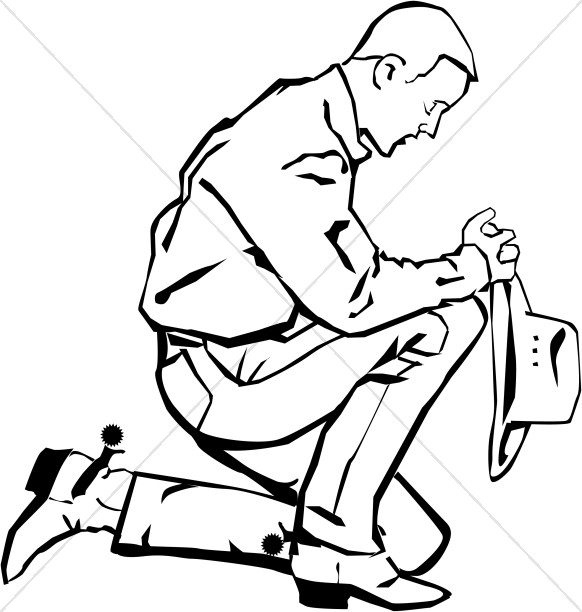 Praying Cowboy on Bended Knee.