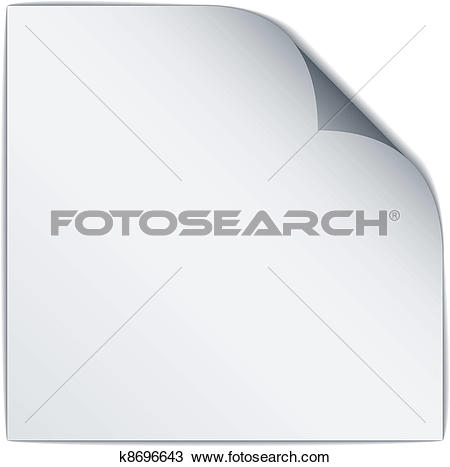 Clipart of vector white bended paper k8696643.