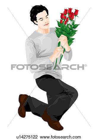 Clip Art of On bended knee with roses u14275122.