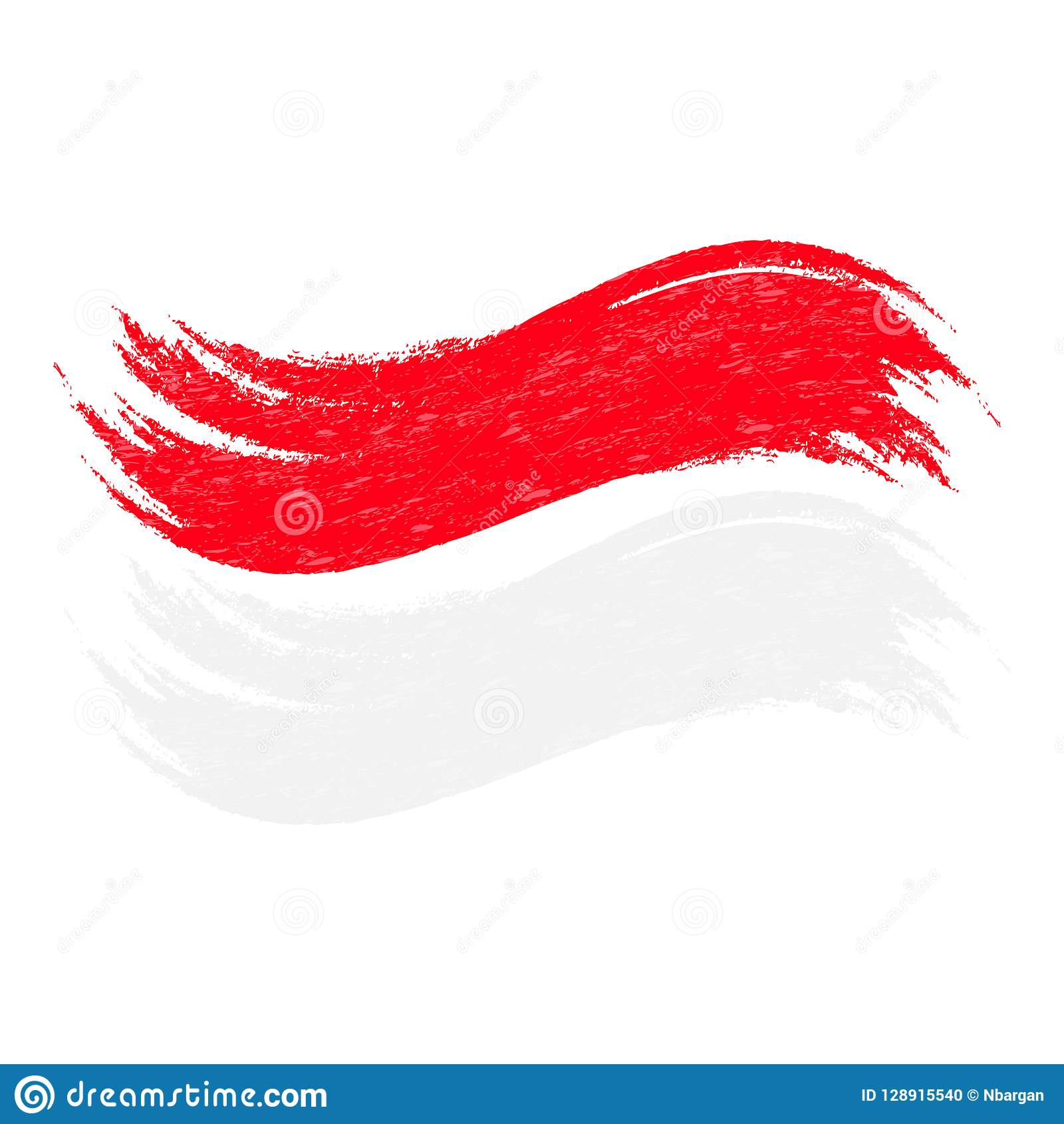 Grunge Brush Stroke With National Flag Of Indonesia Isolated On A.