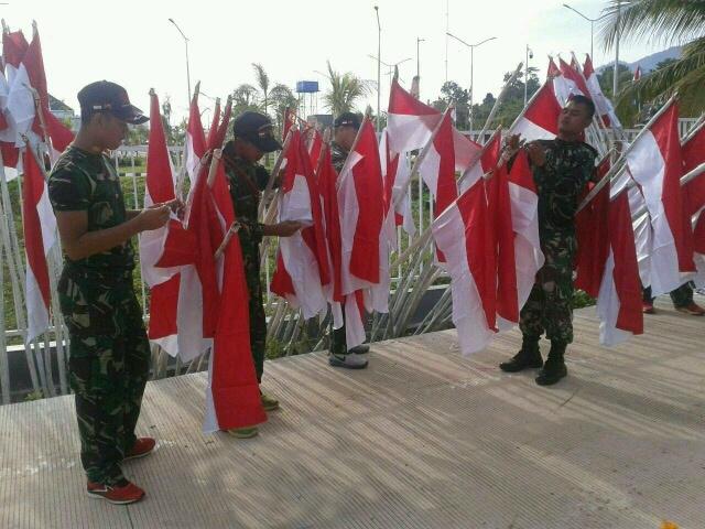 Peringati HUT RI, 2000 Bendera Merah Putih Berkibar di Perbatasan.