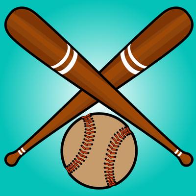 Crossed Baseball Bats with Ball Beneath, Clip Arts.