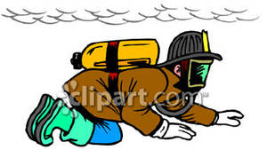 Crawling Beneath the Smoke of a Fire Royalty Free Clipart Picture.