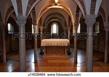 Stock Photo of Benedictine Abbey of Nonantola, view of crypt.