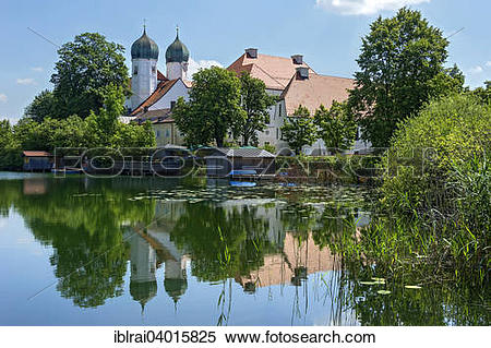 "Stock Image of ""Benedictine monastery Seeon with monastery church."