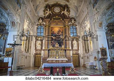 Stock Photo of Main altar, Benediktbeuern, Bavaria, Germany.