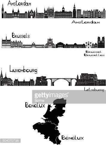 Capitals of Benelux premium clipart.