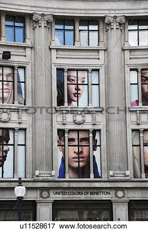 Picture of England, London, Oxford Street, Giant pictures of faces.