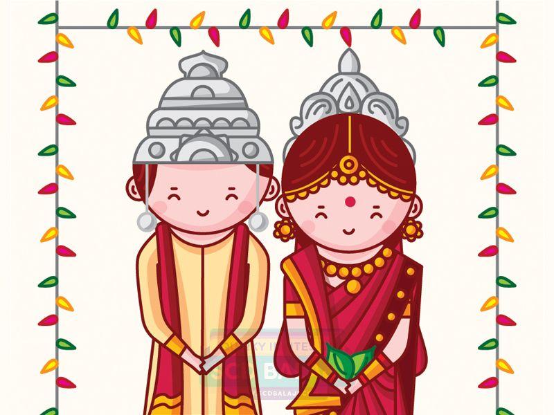 Bengali Wedding Invitation Illustration and Design by SCD.