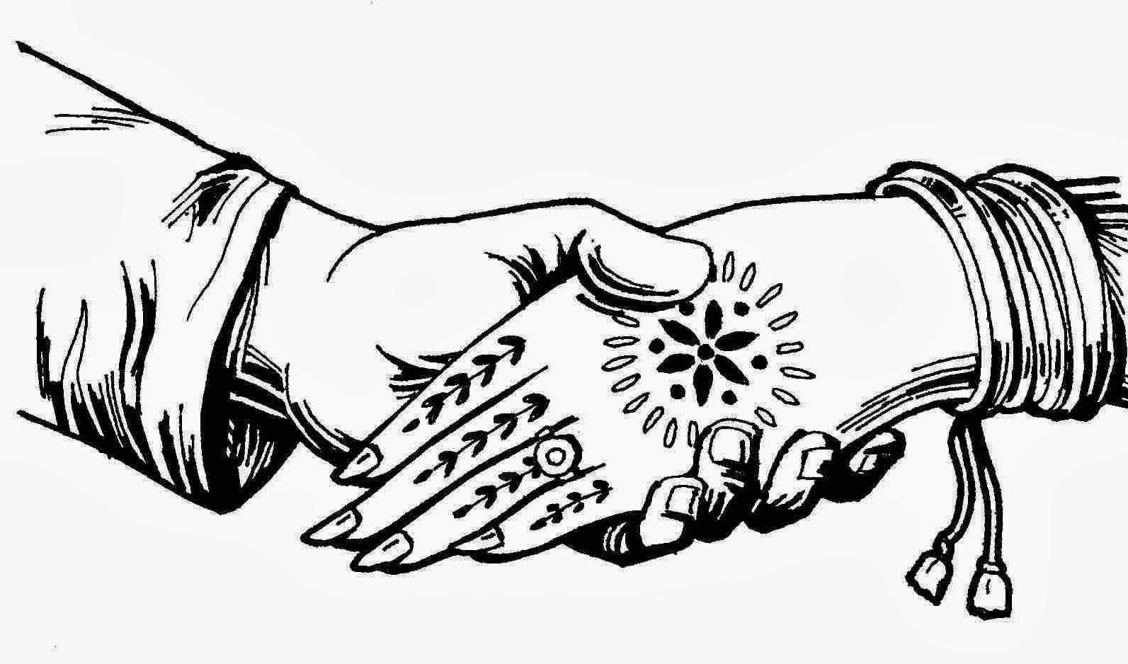 Bengali Marriage Clipart Black & White.