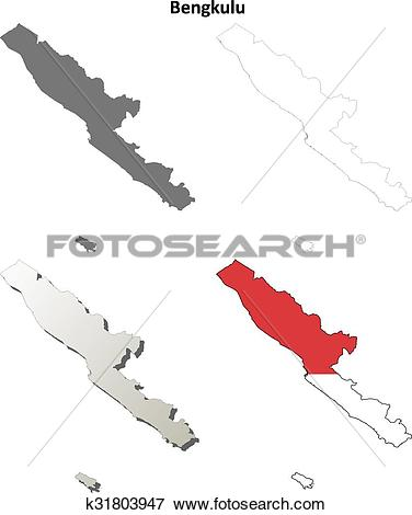 Clip Art of Bengkulu blank outline map set k31803947.
