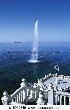 Stock Image of Spain, Alicante, Benidorm, Sea, Water, Spurt.