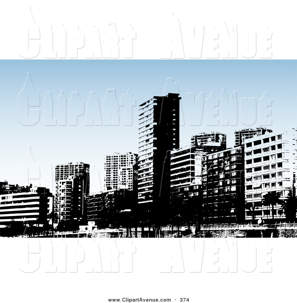Avenue Clipart of a Skyline of a Black and White Benidorm City.
