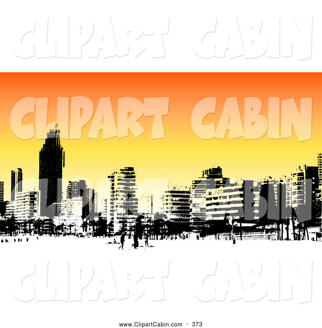 Vector Clip Art of a Skyline of Benidorm Buildings in Black and.