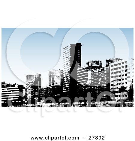 Clipart Illustration of Black And White Benidorm City Skyscraper.