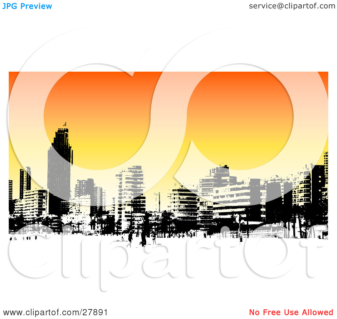 Clipart Illustration of a Skyline Of Benidorm Buildings In Black.