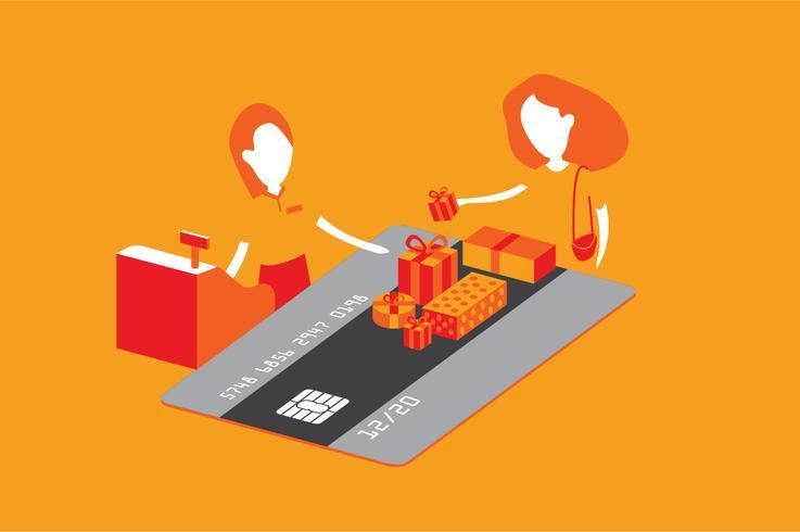 Credit card shopping benefit illustration.