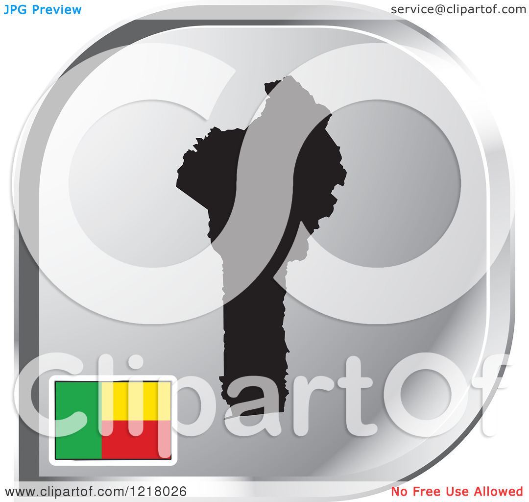 Clipart of a Silver Benin Map and Flag Icon.