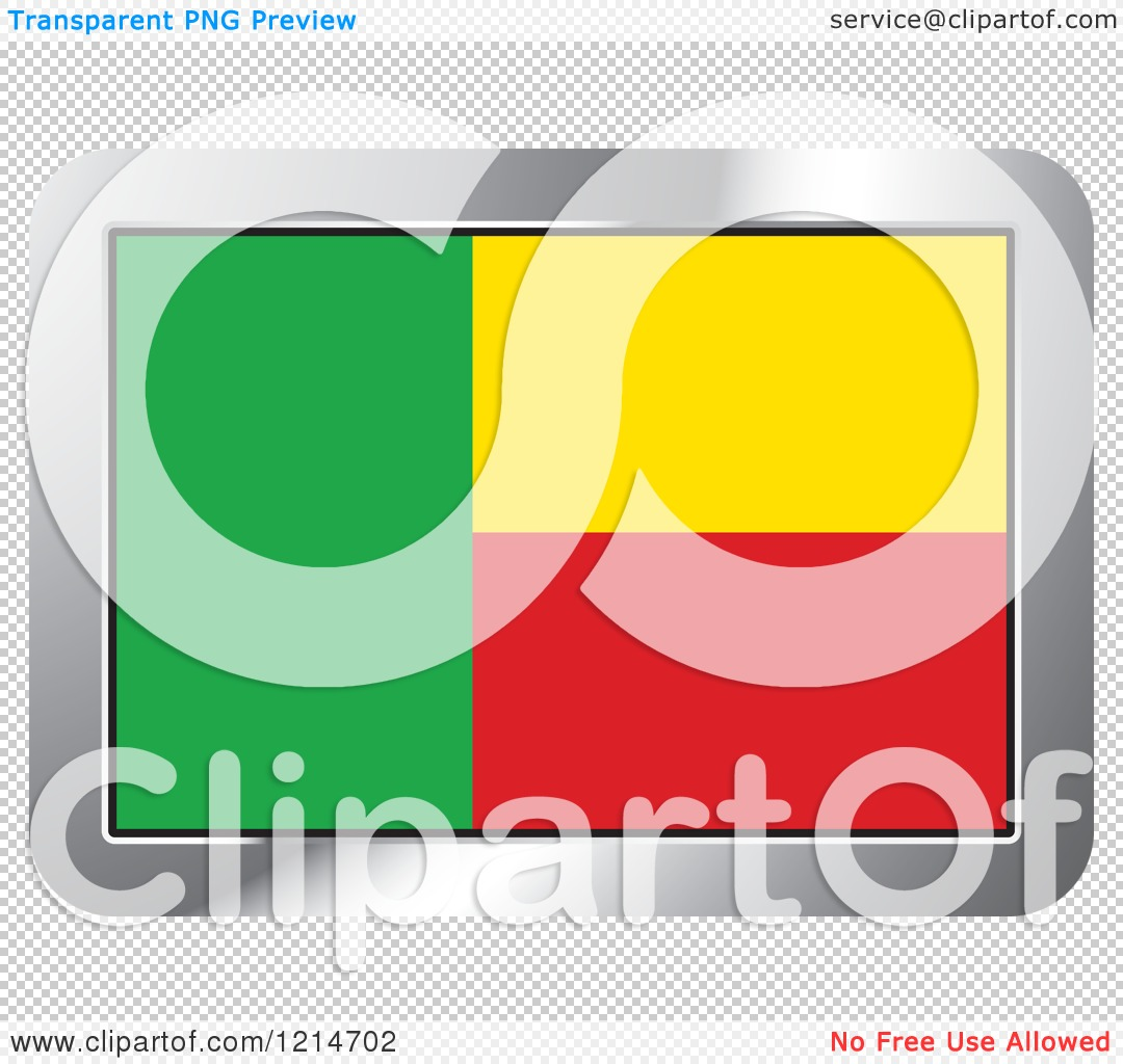 Clipart of a Benin Flag and Silver Frame Icon.