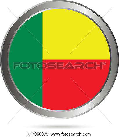 Clipart of Benin flag button. k17060075.