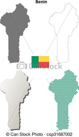 Vector Clipart of Benin outline map set.