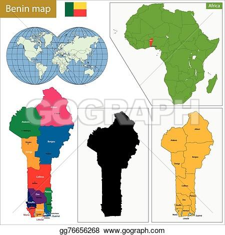 Benin map clipart.