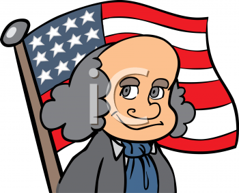 Cartoon of Benjamin Franklin.