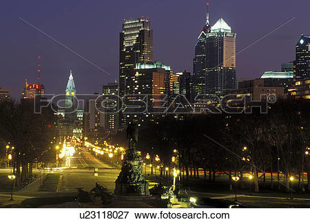 Picture of Philadelphia, PA, Pennsylvania, Skyline of downtown.