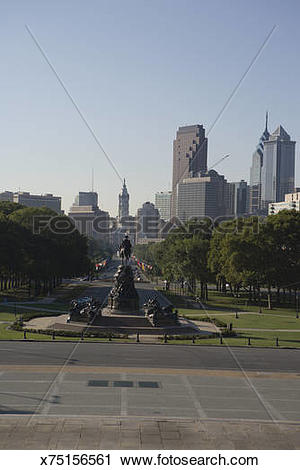 Stock Photography of Benjamin Franklin Parkway, view from.