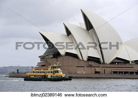 "Stock Images of ""Ferry and Sydney Opera House on Bennelong Point."