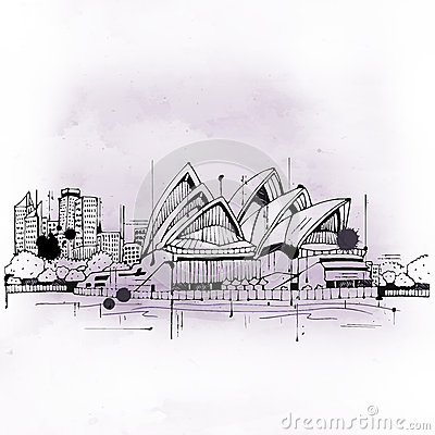 Illustration Of Sydney Opera House Editorial Photo.