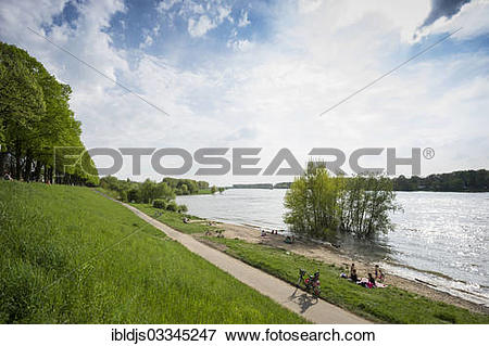 """Picture of """"Rhine River shore of Schloss Benrath Palace, Benrath."""