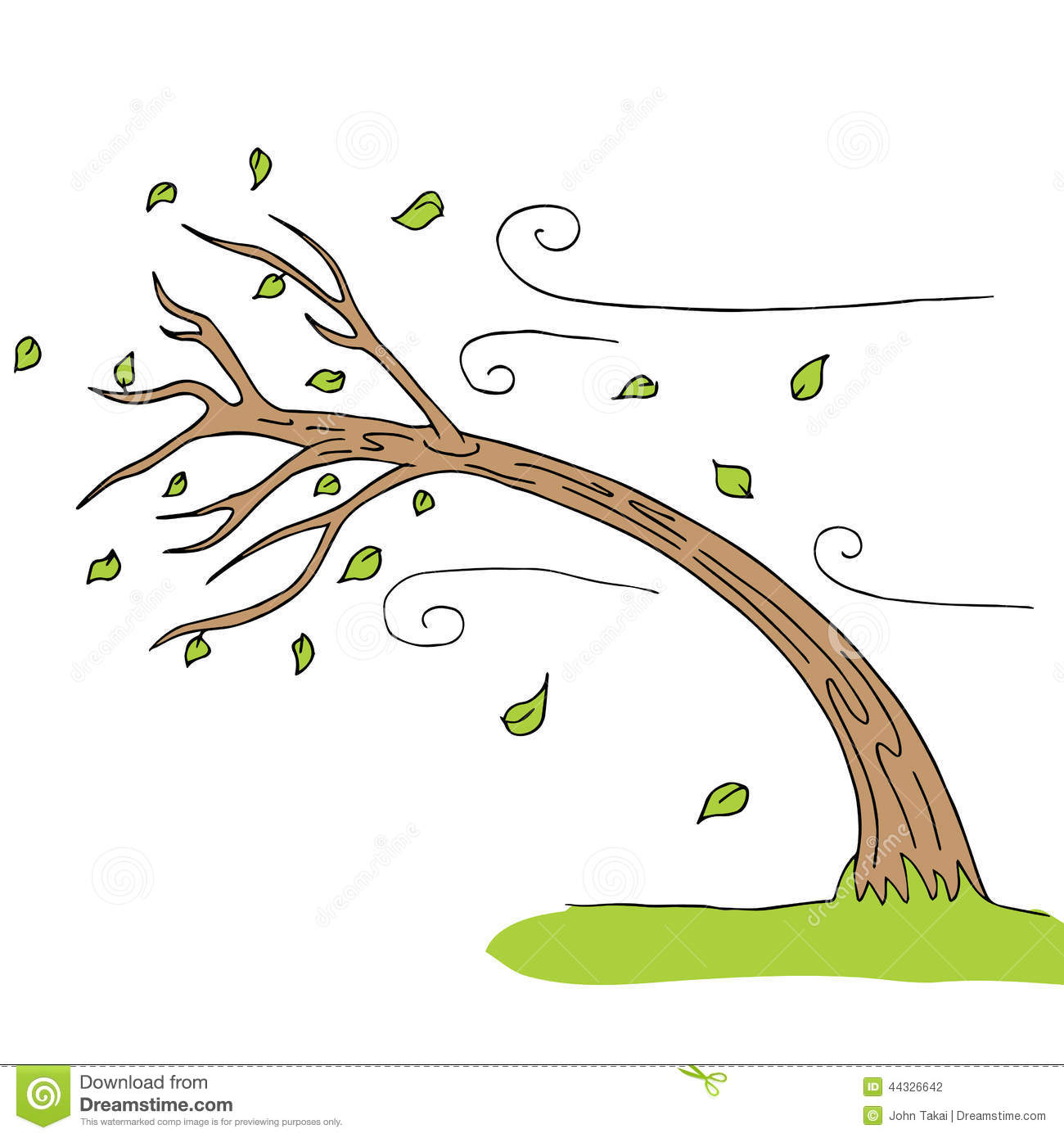 The Tree Is Bending By The Wind Stock Vector.