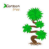 Clipart of Stylized Bent Tree Isolated on White k15832252.